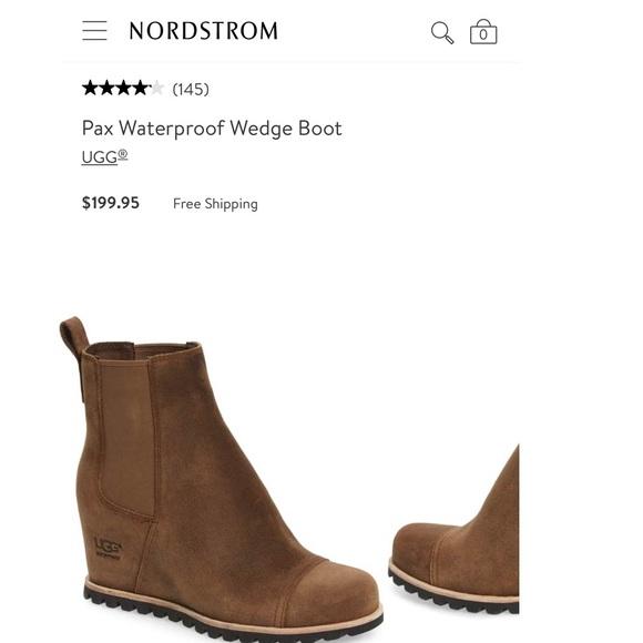 2e0e32649423 UGG PAX Waterproof wedge boot BROWN SUEDE 8 NIB